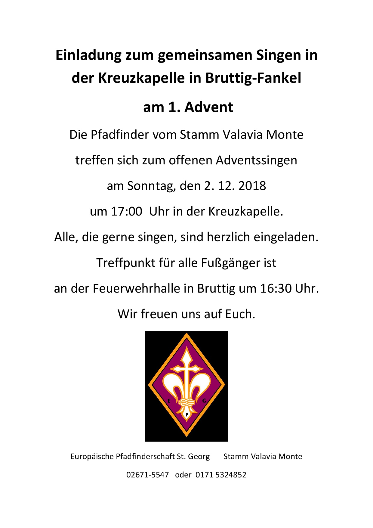 Einladung Adventssingen